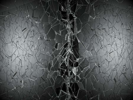 demolished: Shattered or demolished glass over black background. 3d rendering 3d illustration