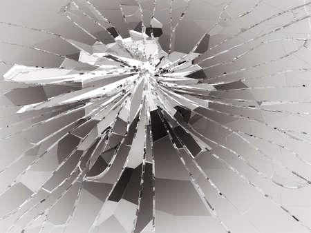 Shattered or demolished glass over white. 3d rendering 3d illustration