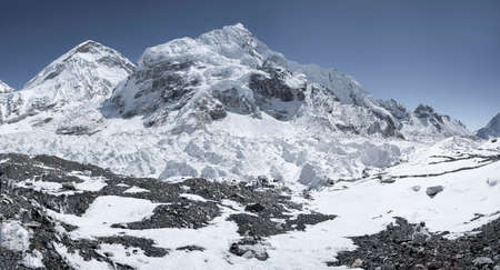 On the way to Everest with khumbu icefall and base camp. Himalayas
