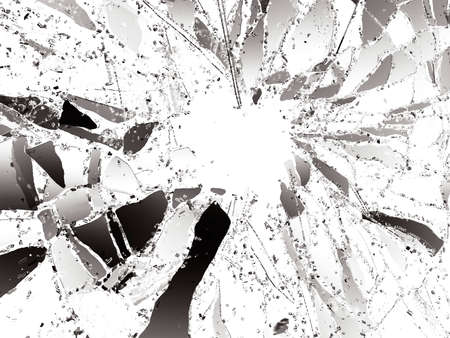 Pieces of destructed Shattered glass on white. 3d illustration; 3d rendering