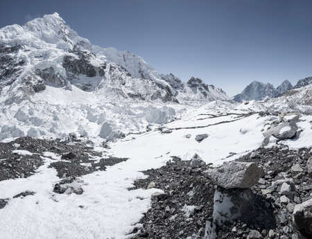 Everest base camp area with Nuptse summit and Khumbu icefall