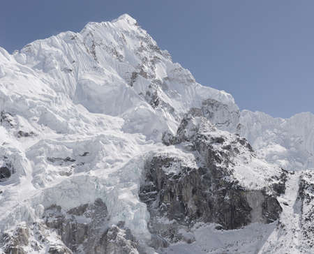 Nuptse Mountain near Everest Base Camp and Khumbu Icefall Stock Photo