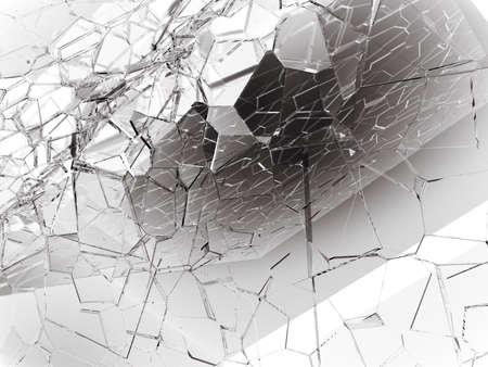 Damaged or broken glass on white. 3d rendering 3d illustration Stock Photo