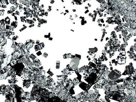 Shattered or demolished glass over white. 3d illustration; 3d rendering