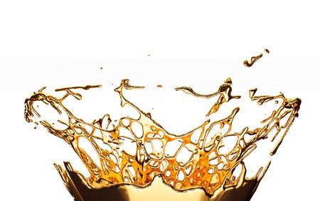 Melted gold or oil splashes isolated on black. 3d render, 3d illustration Stock Photo
