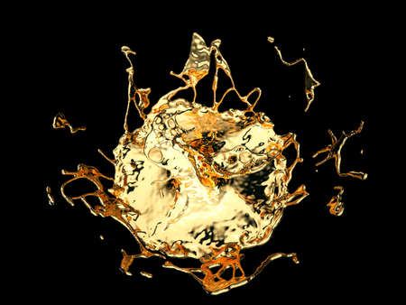 Liquid gold or oil splatter and splashes isolated on black. 3d render, 3d illustration