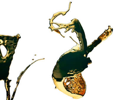 Melted gold or oil splashes isolated on white. 3d render, 3d illustration