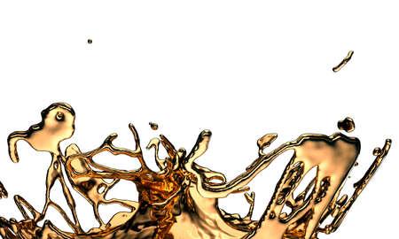 Liquid gold or oil splashes isolated on white. 3d render, 3d illustration