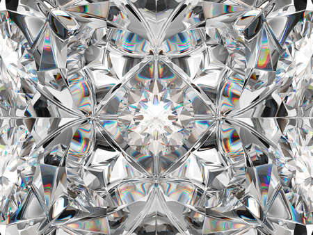 Diamond closeup and kaleidoscope pattern. top view of round gemstone 3d render, 3d illustration 免版税图像
