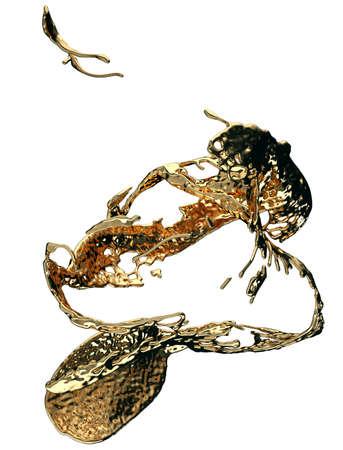 Liquid gold or oil splatter and splashes isolated on white. 3d render, 3d illustration