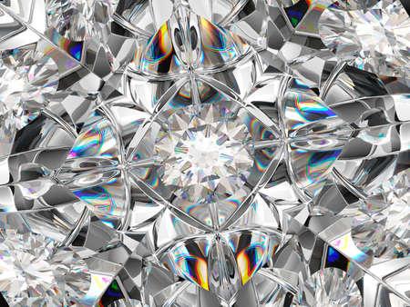 Diamond closeup and kaleidoscope pattern. top view of round gemstone 3d render, 3d illustration Stock Photo