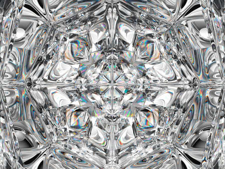 Gemstone macro closeup with kaleidoscope effect. top view of round gemstone 3d render, 3d illustration