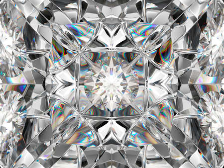 Gemstone macro closeup with kaleidoscope effect. top view of round gemstone 3d render, 3d illustration Reklamní fotografie - 90084846