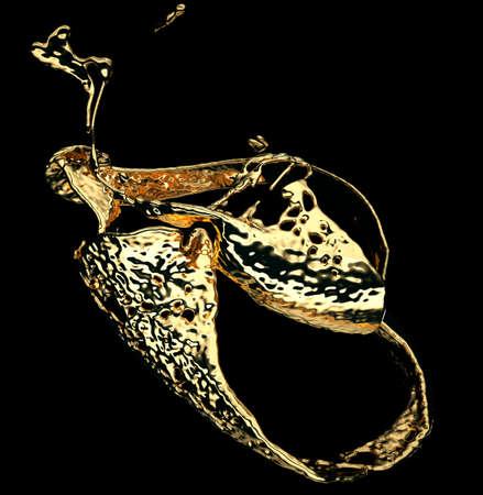 Melted gold or oil splashes isolated on black. 3d render, 3d illustration