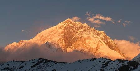 Nuptse summit or peak at sunset or sunrise. Everest base camp trek, tourism in Nepal