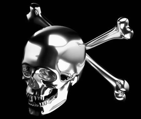 Silver Skull with crossed bones or totenkopf isolated on black 3d render 3d illustration