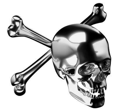 Silver Skull with crossed bones or totenkopf isolated on white 3d render 3d illustration