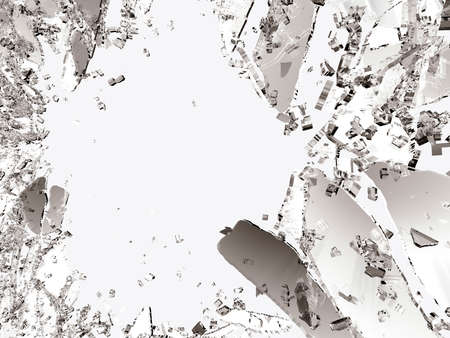 Pieces of splitted or cracked glass on white. 3d illustration; 3d rendering