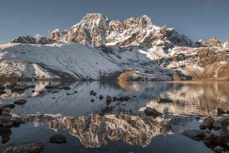 Gokyo Lake and Himalayan peaks. Trekking in Nepal