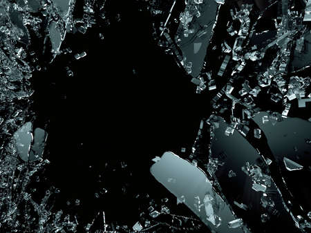 Pieces of splitted or cracked glass on black. 3d illustration; 3d rendering