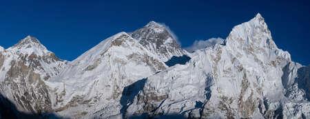 Everest and Nuptse summits from Kala Patthar peak. Everest base camp trek, tourism in Nepal Stock Photo