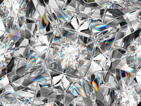diamond extreme closeup and kaleidoscope effect. top view of round gemstone 3d render, 3d illustration 写真素材