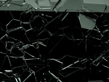 Pieces of splitted or cracked glass on black, 3d illustration; 3d rendering