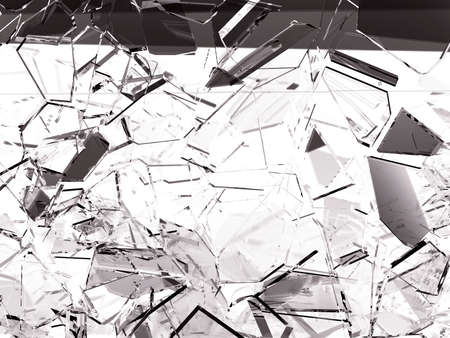 Pieces of splitted or cracked glass on white, 3d illustration; 3d rendering Stock Photo