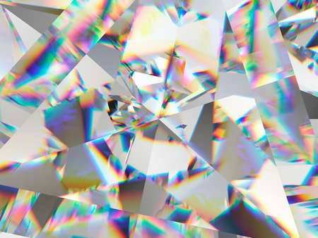 diamond structure extreme closeup and kaleidoscope. top view of round gemstone 3d render, 3d illustration 版權商用圖片 - 107684726