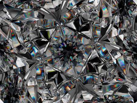 Gemstone extreme closeup and kaleidoscope pattern. top view of round gemstone 3d render, 3d illustration