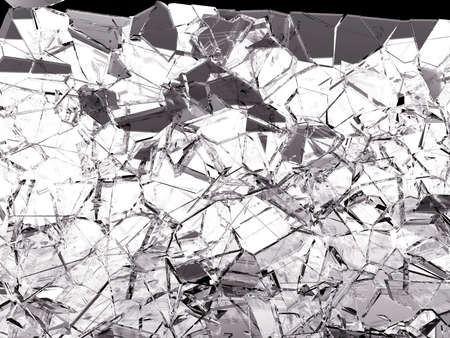 Pieces of glass broken or cracked on black, 3d illustration; 3d rendering