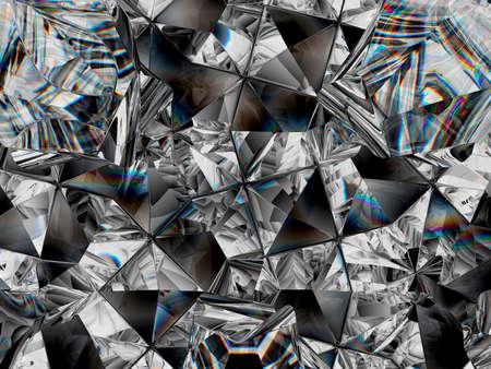 diamond texture closeup and kaleidoscope. top view of round gemstone 3d render, 3d illustration 版權商用圖片 - 112473532