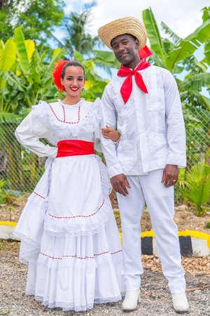 Dancers in coustumes for dancing son jarocho la bamba folk dance. Cuba, spring 2018