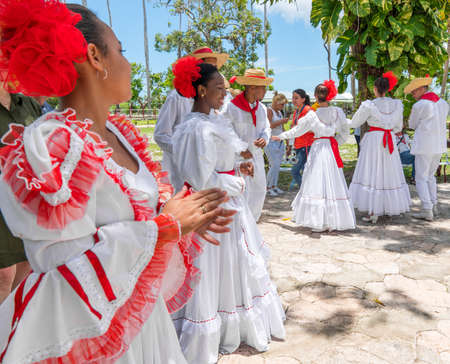 Dancers in coustumes for dancing son jarocho la bamba folk dance. Cuba, spring 2018