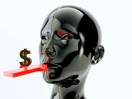Consumption or consumerism arrow and dollar sign near human or customer mouth. 3d render, 3d illustration Banco de Imagens