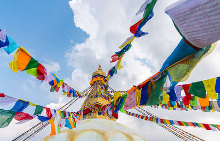 Boudhanath Stupa in Kathmandu, Nepal. Buddhist stupa of Boudha Stupa is one of the largest stupas in the world