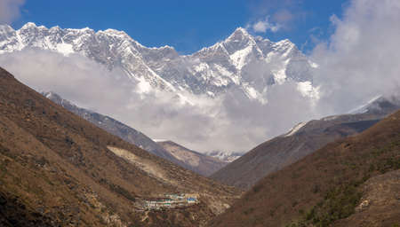 Everest summit, Lhotse and village in Himalayas. Everest base camp trek in Nepal