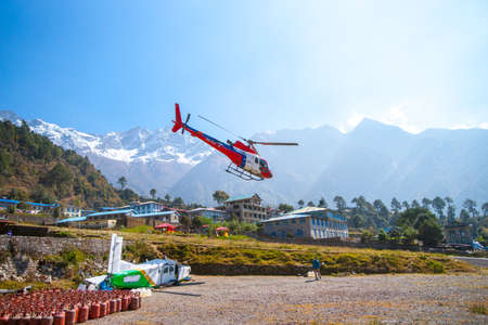 Rescue helicopter in Lukla airport in Himalayas, Captured in autumn 2013, Nepal, Khumbu region