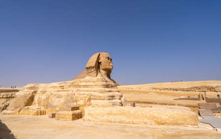 Great Sphinx of Giza, with the Great Pyramid in the background