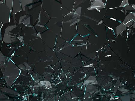 Pieces of glass broken or cracked on black, 3d illustration; 3d rendering