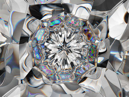 Abstract diamond structure extreme closeup and kaleidoscope. top view of round gemstone 3d render, 3d illustration Stock Photo