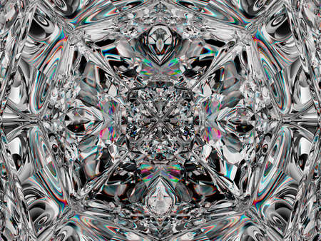 Gemstone structure extreme closeup and kaleidoscope effect. top view of round gemstone 3d render, 3d illustration