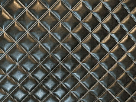 Leather stitched square black shiny texture or background with bumps. 3d render, 3d illustration