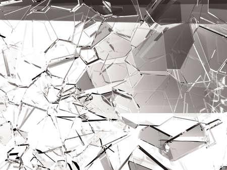 Pieces of glass broken or cracked, 3d illustration; 3d rendering