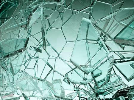 Pieces of transparent glass broken or cracked, 3d illustration; 3d rendering