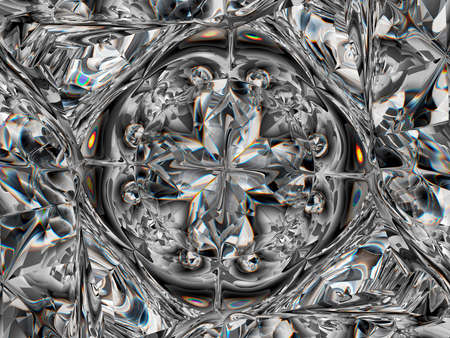 Gemstone or Abstract diamond texture closeup and kaleidoscope. 3d render, 3d illustration