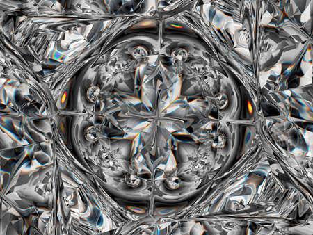 Gemstone or Abstract diamond texture closeup and kaleidoscope. 3d render, 3d illustration