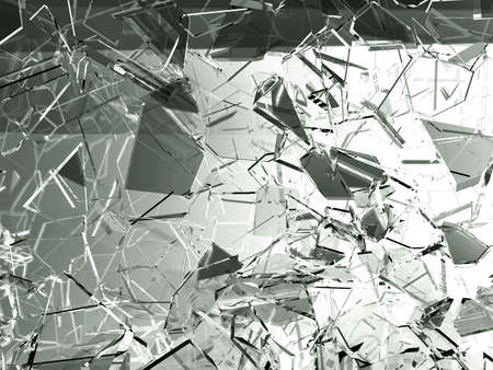 Pieces of glass broken or cracked on white, 3d illustration; 3d rendering