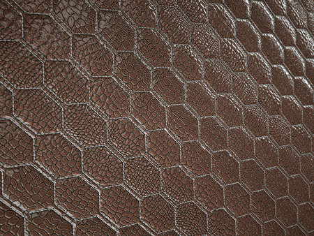 Alligator or crocodile brown Leather. hexagon or honeycomb stitched texture or background with bumps. 3d render, 3d illustration