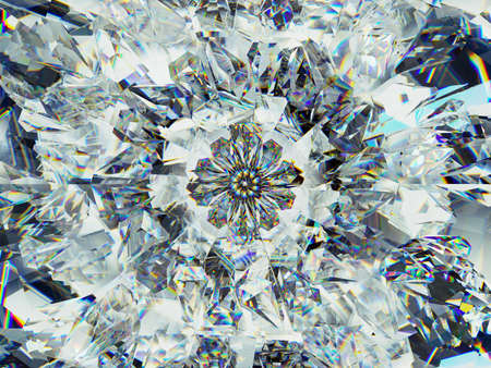 diamond structure extreme closeup and kaleidoscope. top view of round gemstone 3d render, 3d illustration